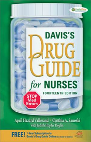 Test Bank (Download Only) for DAVIS'S DRUG GUIDE FOR NURSES, 14th Edition, April Hazard Vallerand, Cynthia A. Sanoski, ISBN-13: 978-0-8036-3976-8, ISBN-13: 9780803639768